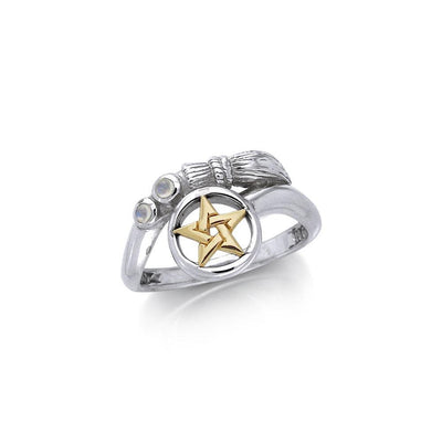 Silver and Gold Vermeil Broomstick Ring MRI355