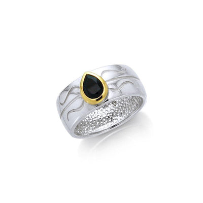 Black Magic Teardrop Solitare Silver & Gold Ring MRI480 Ring