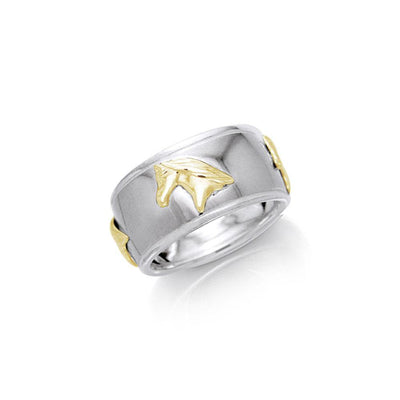 Friesian Horse Silver & Gold Ring MRI622 Ring