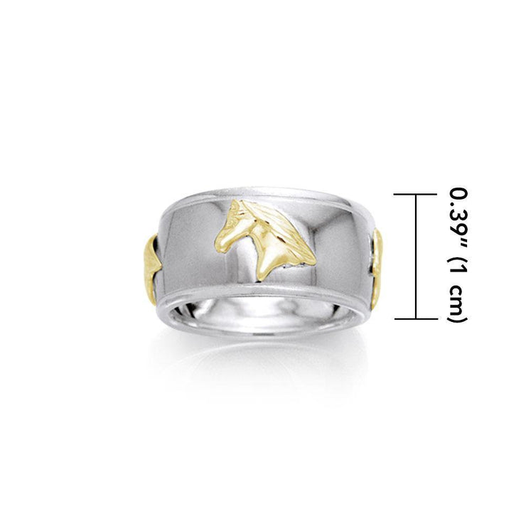 Friesian Horse Silver & Gold Ring MRI622