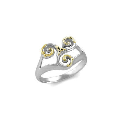An elegant threefold symbolism of Celtic Triquetra ~ Sterling Silver Ring with 18k Gold Accent MRI660