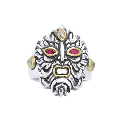 Silver and Gold Green Man Ring MRI960