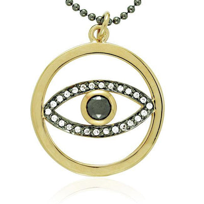 Silver and Gold Magic Eye Pendant and Chain Set MSE465