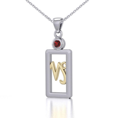 Capricorn Zodiac Sign Silver and Gold Pendant with Garnet and Chain Jewelry Set MSE781 - Peter Stone Wholesale