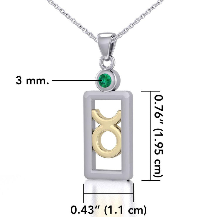Taurus Zodiac Sign Silver and Gold Pendant with Emerald and Chain Jewelry Set MSE785