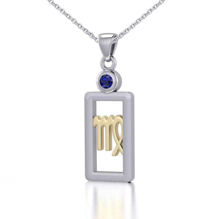 Virgo Zodiac Sign Silver and Gold Pendant with Sapphire and Chain Jewelry Set MSE789