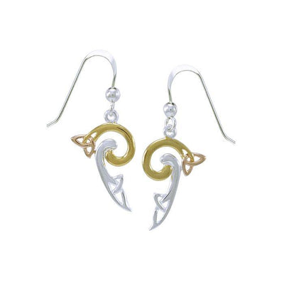 Celtic Trinity Knot Spiral Three Tone Earrings OTE2141