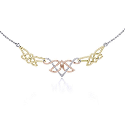 A splendor of beauty linked into one ~ Celtic Knotwork Sterling Silver Three Tone Necklace Jewelry OTN003