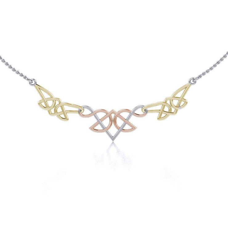 A splendor of beauty linked into one ~ Celtic Knotwork Sterling Silver Three Tone Necklace Jewelry OTN003 Necklace