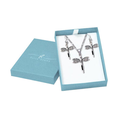 Silver Dragonfly with Inlay Stone Pendant Earrings with Free Chain Jewelry Gift Box Set SET059