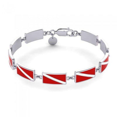 Diving exclusive ~ Sterling Silver Jewelry Dive Flag Link Bracelet TBG404