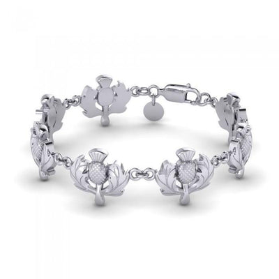 Scottish Thistle Silver Bracelet TBG436