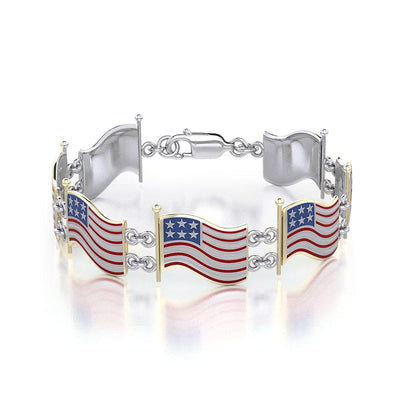 Silver and Gold American Flag with Enamel Link Bracelet TBGV399