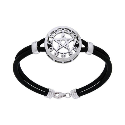 Sterling Silver Moon Phase The Star Leather Cord Bracelet TBL209