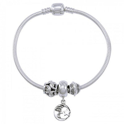 Moon and Star Sterling Silver Bead Bracelet TBL358