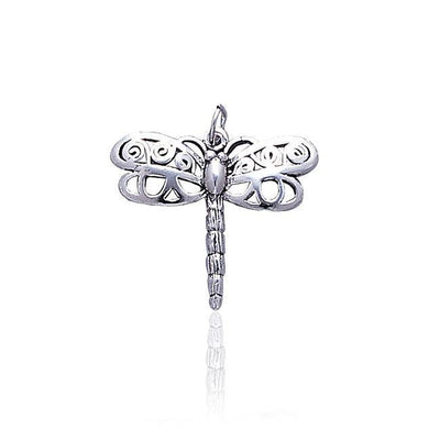 Large Silver Dragonfly Charm TC232