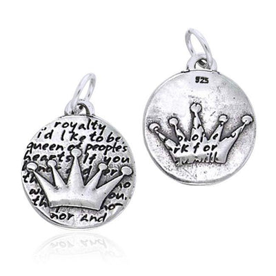 Empowering Word Crown Silver Disc Charm TCM428
