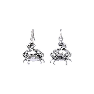 3 Dimensional Blue Crab with Hammer Silver Charm TCM574