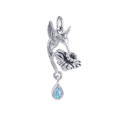 Silver Flying Hummingbird with Dangling Gemstone Flower Charm TCM629