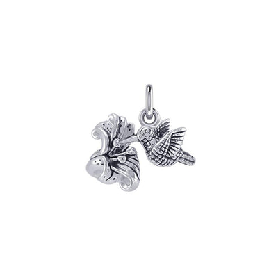 Flying Hummingbird with Flower Silver Charm TCM631