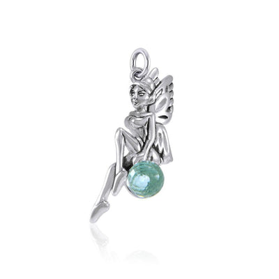 Enchanted Fairy Silver Charm with Crystal TCM636 Charm
