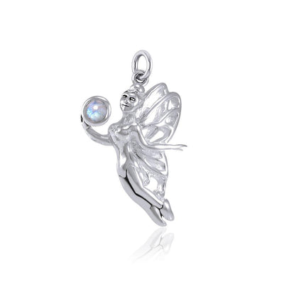Enchanted Fairy Holding Gem Silver Charm TCM638 Charm