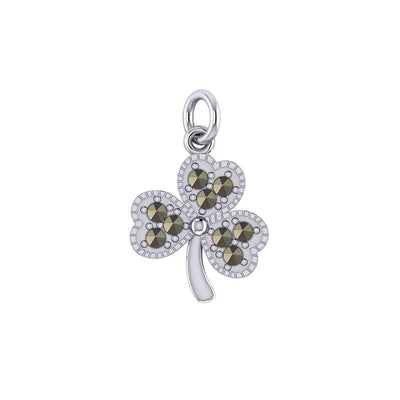 A young spring of luck and happiness Silver Celtic Shamrock Charm with Marcasite TCM668