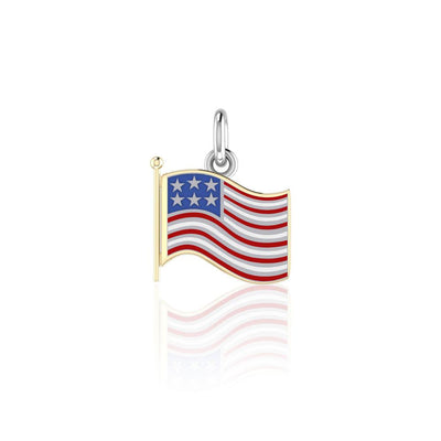 Silver and Gold American Flag with Enamel Charm TCV712