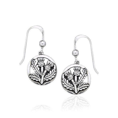 Scottish Thistle Silver Dangle Earrings TE1036 Earrings