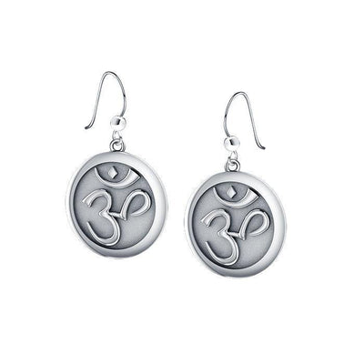 Om Meditation Silver Earrings TE1052