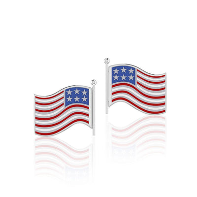 Silver American Flag with Enamel Post Earrings TE1149