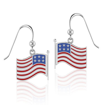 Silver American Flag with Enamel Earrings TE1154