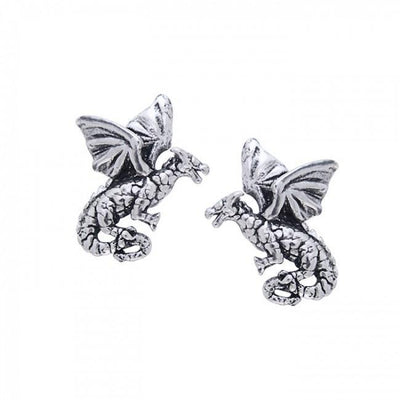 Flying Dragons Silver Post Earrings TE1156