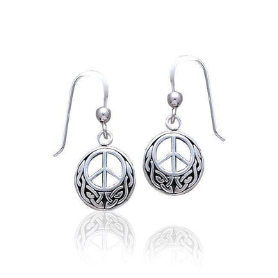 Celtic Knotwork Peace Silver Earrings TE2631