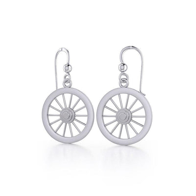 Wagon Wheel Silver Earrings TE2793