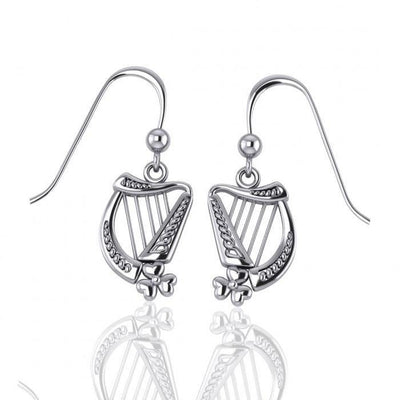 Celtic Knotwork Silver Harp Earrings TE2864