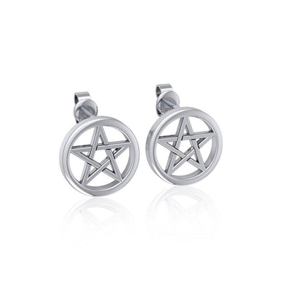 Silver Pentagram Pentacle Earrings TE292