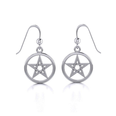 Silver Pentagram Pentacle Earrings TE293