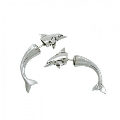 Dolphin Illusion Silver Earrings TE431