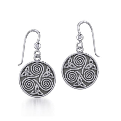 Celtic Silver Spiral Earrings TE651