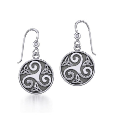 Celtic Silver Spiral Earrings TE652