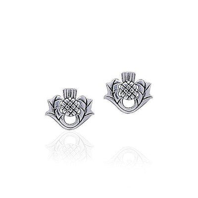 Scottish Thistle Silver Post Earrings TE870 Earrings