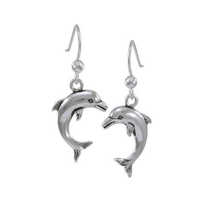 Jumping Dolphin Silver Silver Earrings TE916