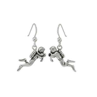 Scuba Sport Diver Silver Earrings TE968