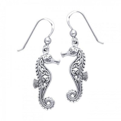 Celtic Knots Seahorse Silver Earrings TER033