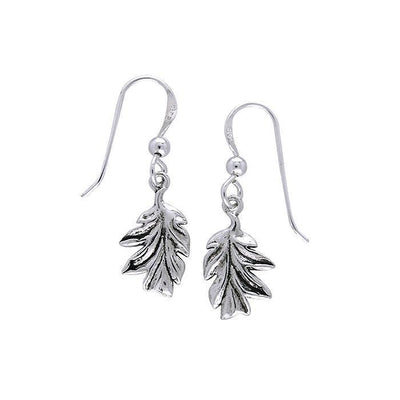 Oak Leaves Silver Hook Earrings TER048
