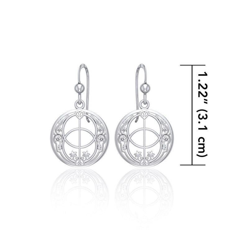 Chalice Well in deep symbolism - Sterling Silver Jewelry Hook Earrings TER052