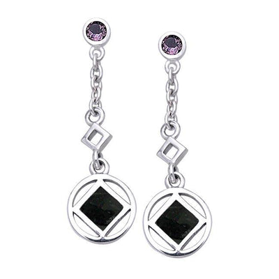 Encircled NA Symbol Silver Earrings TER063