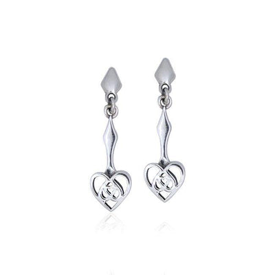 Celtic Knotwork Silver Heart Earrings TER077