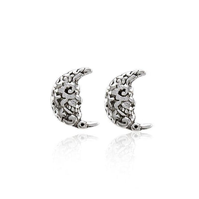 Skull Crescent Moon Post Earrings TER1050